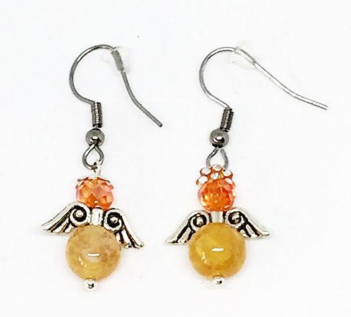 Boucle d'oreille ange orange