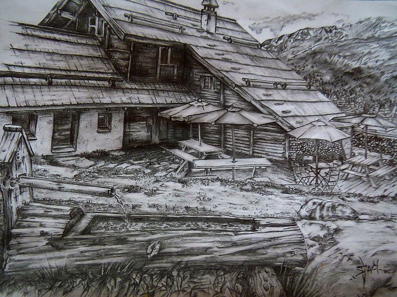 Refuge Buffère Dessin en Montagne Samantha NICOLAS