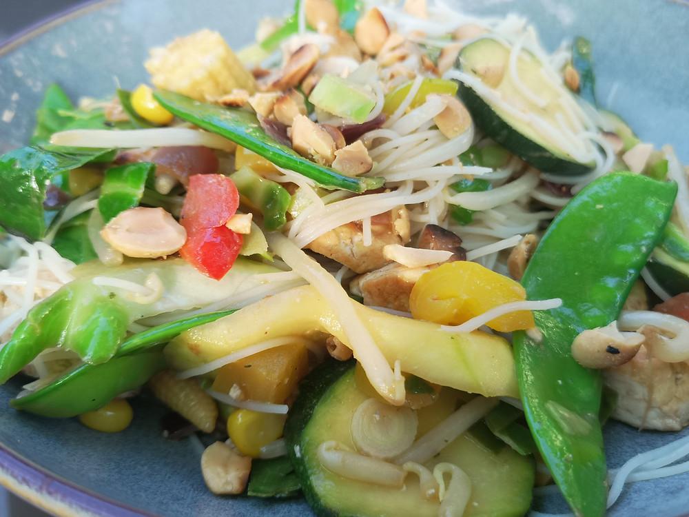 Vegan tofu peanut satay stir fry recipe