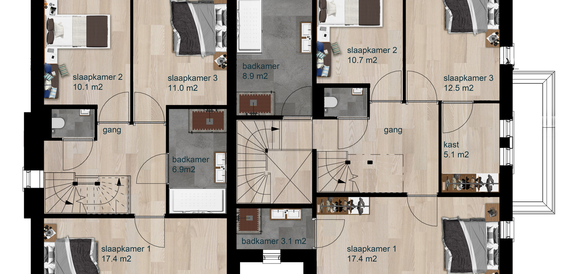 Verkoop plattegrond - 1e verdieping - Vi