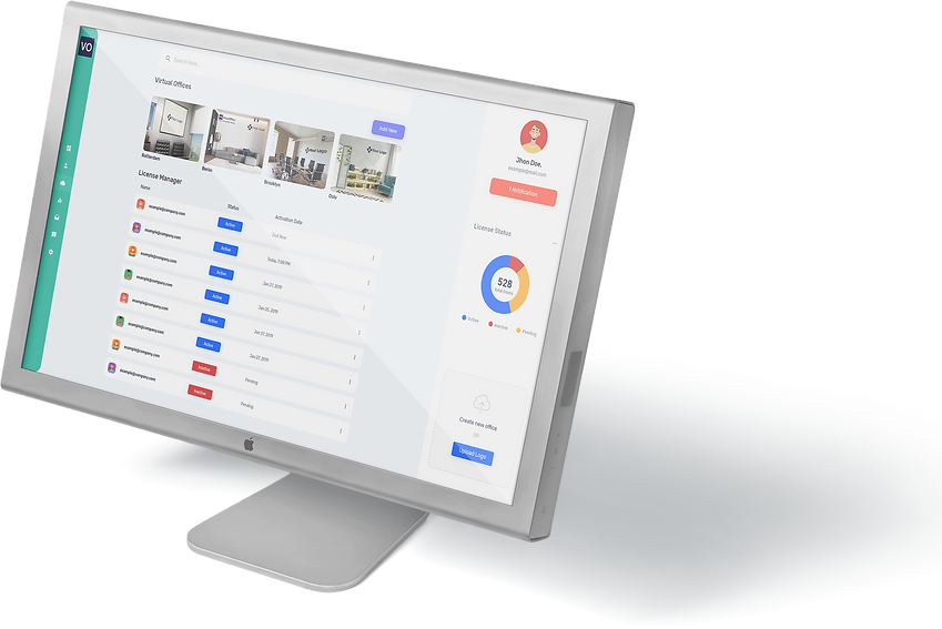 VirtualOffice commercial dashboard | office background