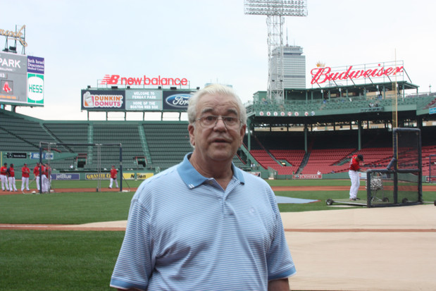 Dad on the field at Fenway Park!  2013