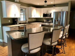 Classic white cabinet and Gray island