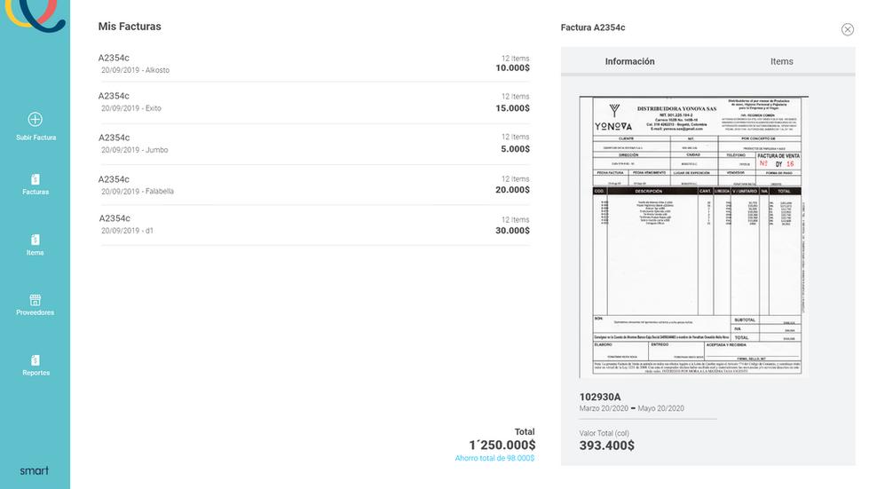 Visualización de facturas interpretadas