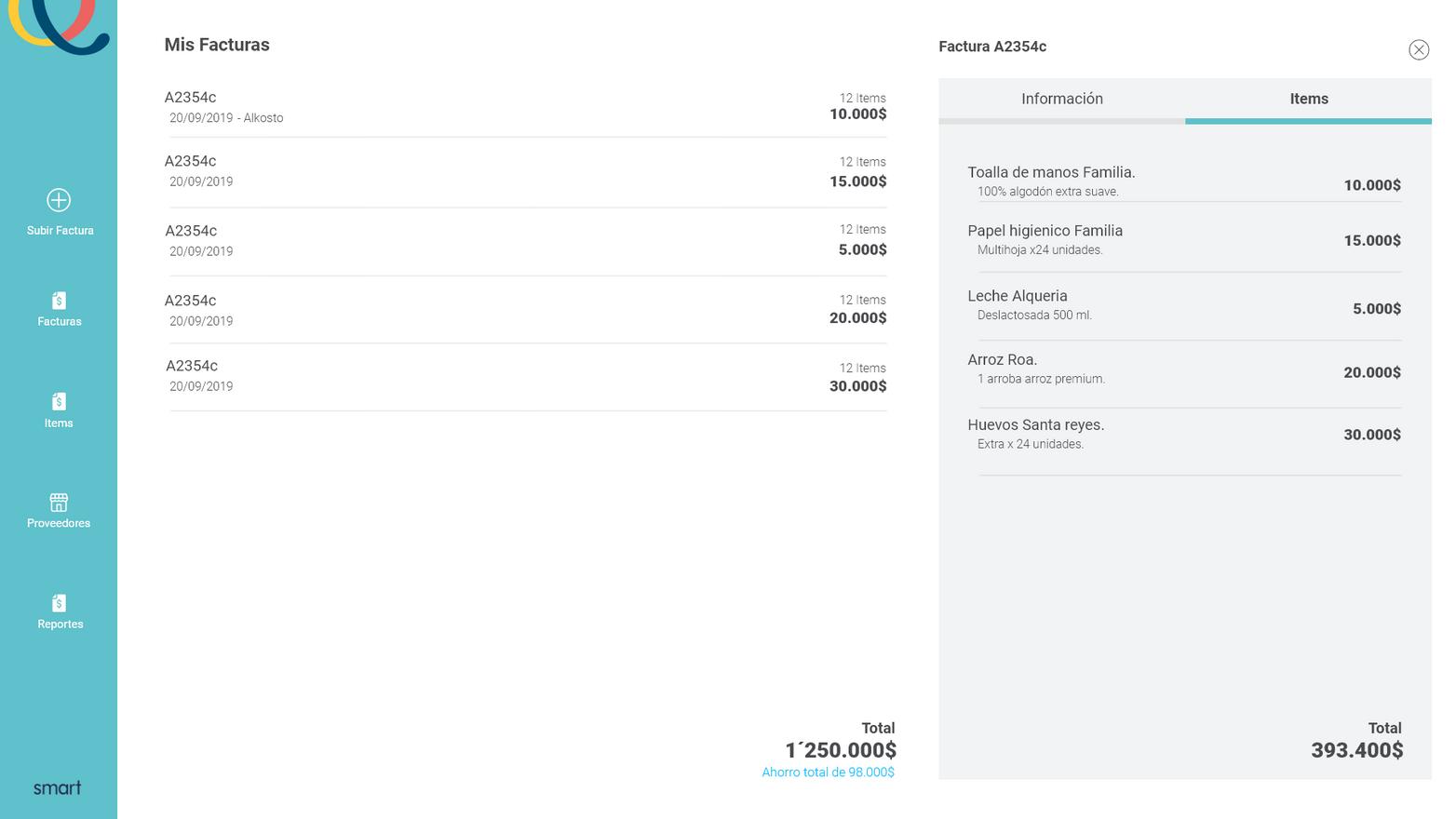 Visualización de facturas