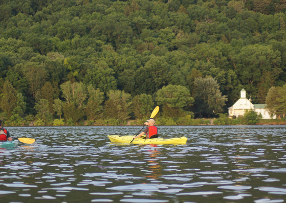 Two kayakers and a church.JPG
