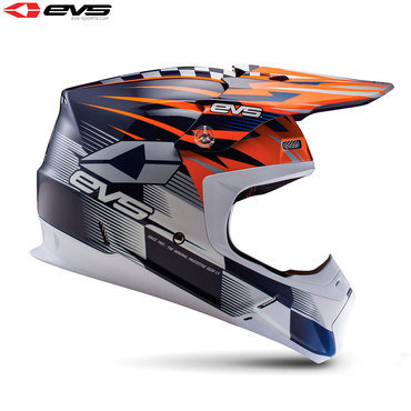 EVS T5 Speedway Adult Helmet (Orange/Blue)