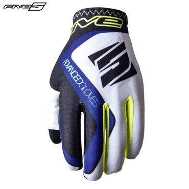 Five MX Practice Adult Gloves White/Blue