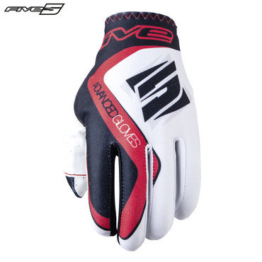 Five MX Practice Adult Gloves White/Red