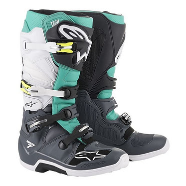 ALPINESTARS TECH 7 BOOT DARK GREY/TEAL/WHITE