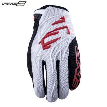 Five MXF3 Adult Gloves White/Red