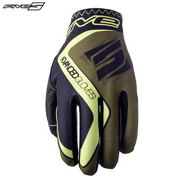 Five MX Practice Adult Gloves Khaki/Flo Yellow