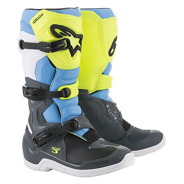 ALPINESTARS TECH 3 BOOT COOL GREY/YELLOW FLUO/CYAN