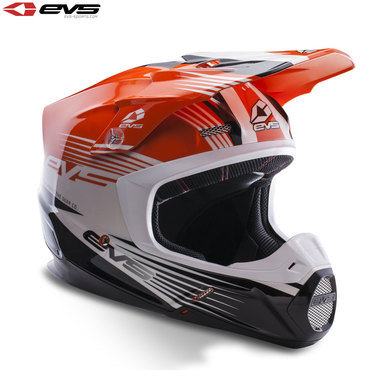 EVS T5 Works Adult Helmet Orange/White/Black