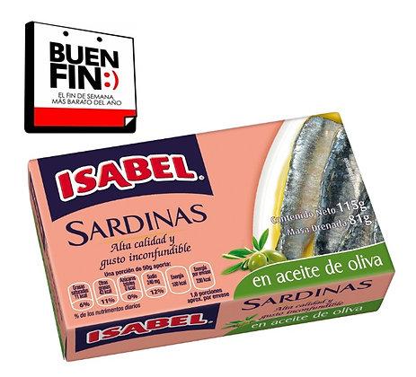 Sardinas en aceite de oliva Isabel (caja de 24 piezas de 115 g)