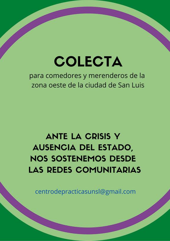Desde el Centro de Prácticas Pedagógicas y Sociocomunitarias (FCH) se realiza una nueva colecta para