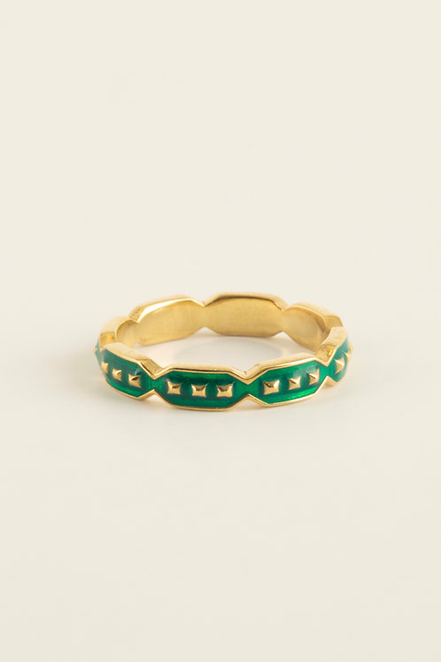 full round octagon ring with green enamel