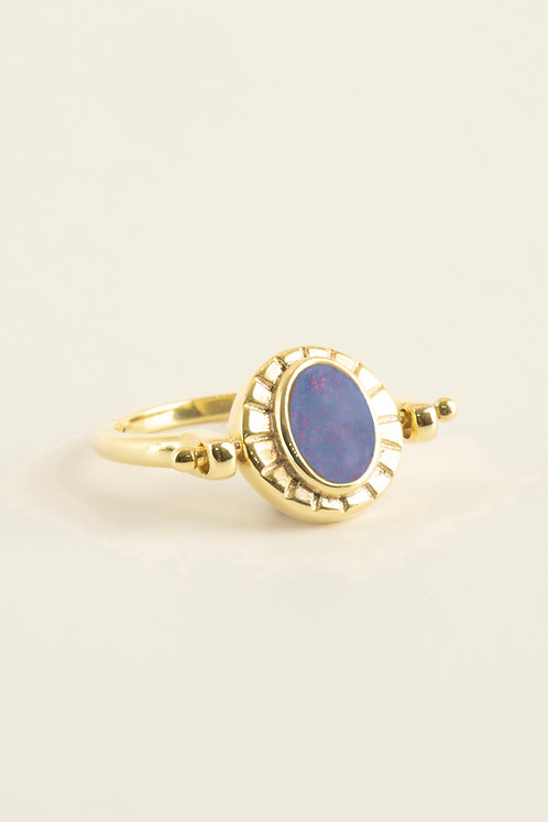 double sided ring with doublet opal