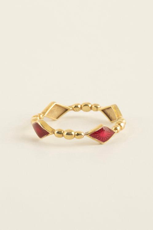 full round rhombus ring with pink enamel