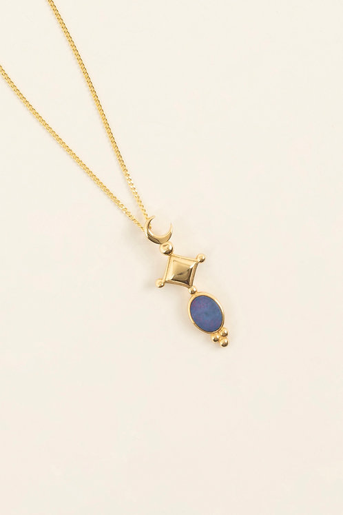 MI MUJER ATELIER crescent charm with blue opal