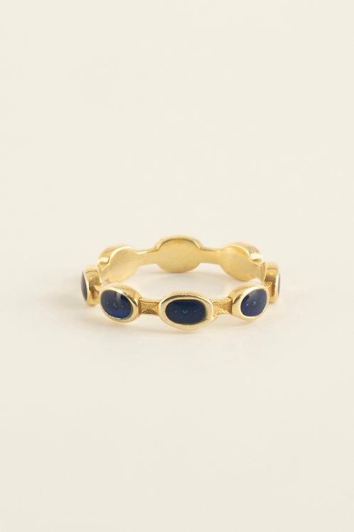 full round ellipse ring with blue enamel
