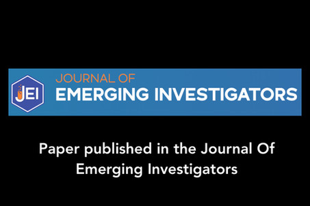 Paper published in the Journal of Emerging Investigators