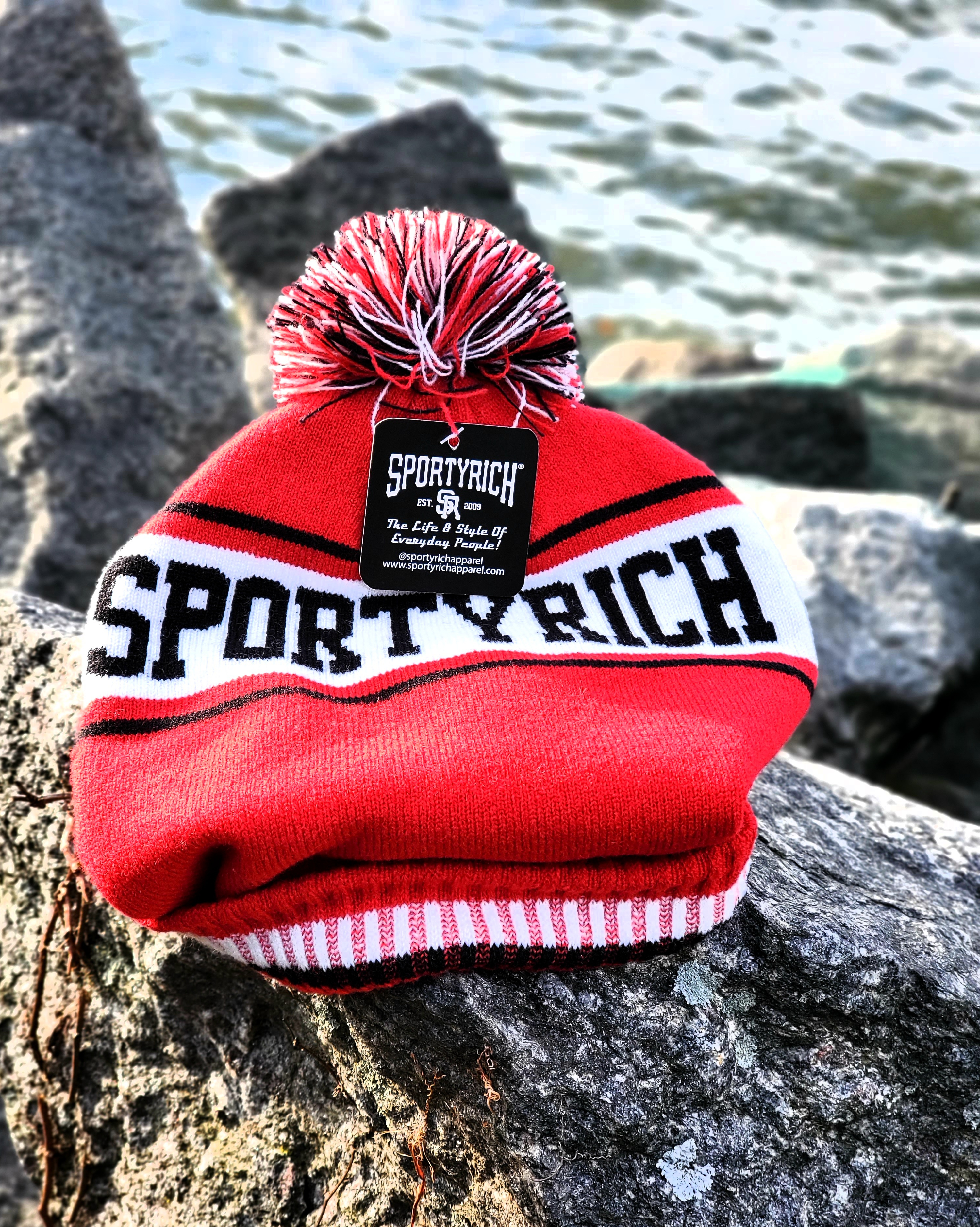 SR 21° F Red Cuffed Knit Pom Hat