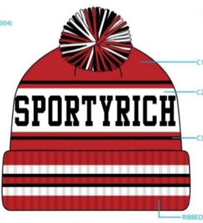 SR 21° F Red Cuffed Knit Pom Hat