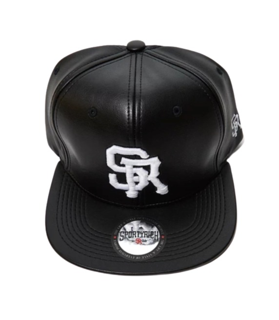 SR BLACK LEATHER SNAPBACK