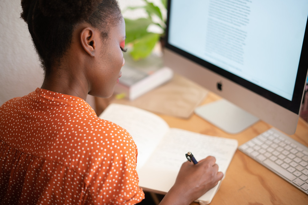 Black female leader working from home