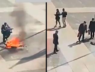 Impactantes imágenes de un hombre que se prende fuego en Uruguay