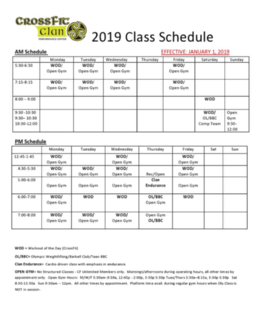 2019 CrossFit class schedule^J effective