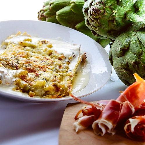 Lasagna Alcachofa Prosciutto