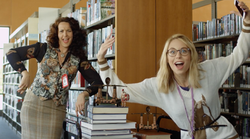 Crazy Cat Lady Librarian Still shot from commercial shoot