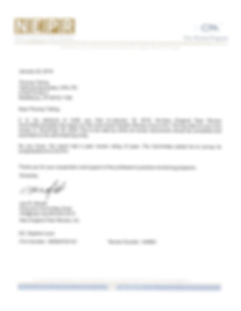Letter to Thomas Telling, CPA from New England Peer Review