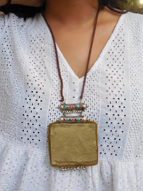 Gold Mashru Silk Hanmade Necklace