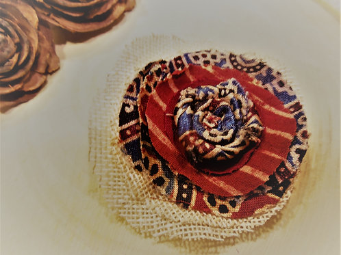 Ajrakh Rose Fabric Brooch
