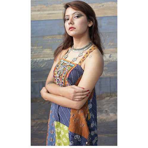 Aendri Patchwork dress with Kachchh Embroidery