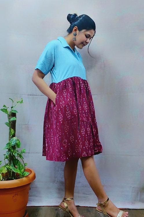 Kimaya Collared Ikat Dress