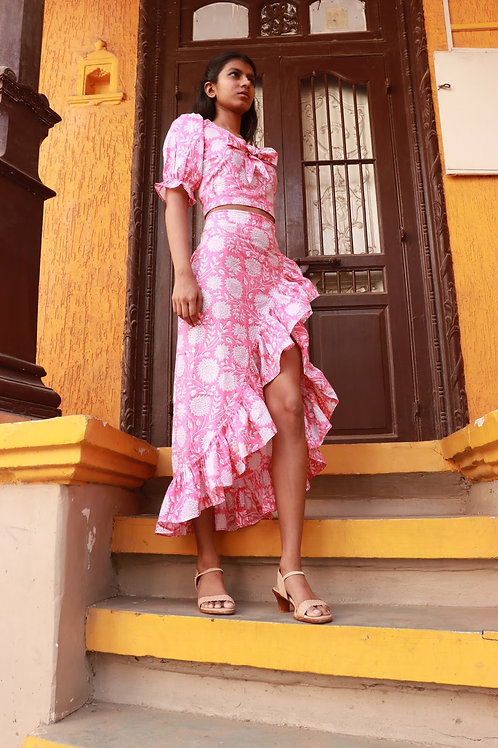 Gulaabo cotton hand block printed skirt with slit and frill