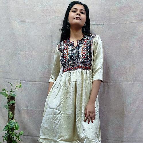 Mashru Silk Dress with Vintage embroidery