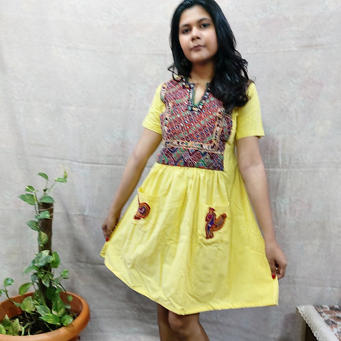 Handloom Cotton dress with Vintage Embroidery