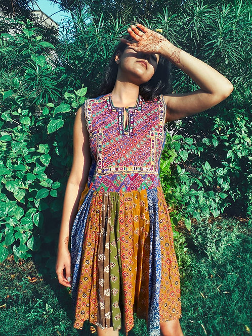 Patchwork dress with vintage hand embroidery