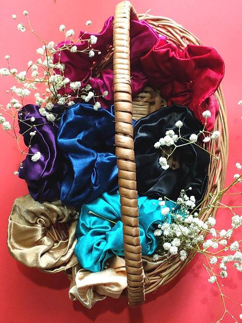 Mashru Silk Scrunchies Set of 8