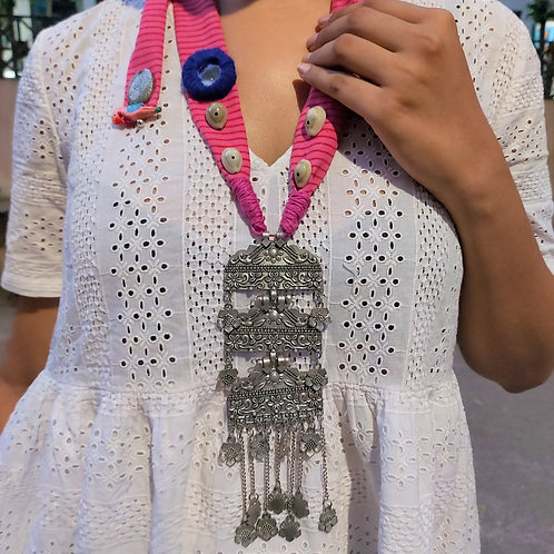 Handmade statement necklace with shells and silver pendant