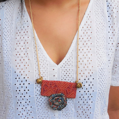 Handmade Ajrakh Rose necklace with ghunghroo