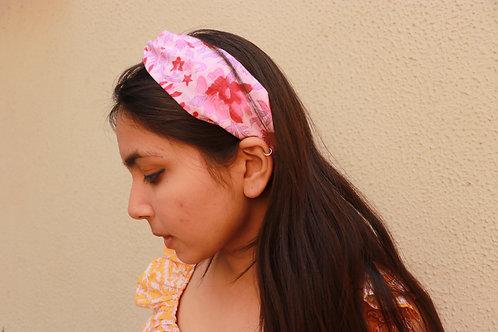 Block printed twist knot headband - Gulaabi