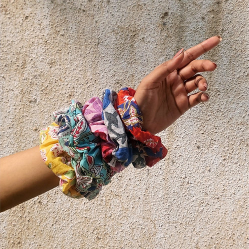 Cotton Block Printed Scrunchies