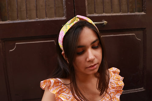 Block printed twist knot headband - Surajmukhi