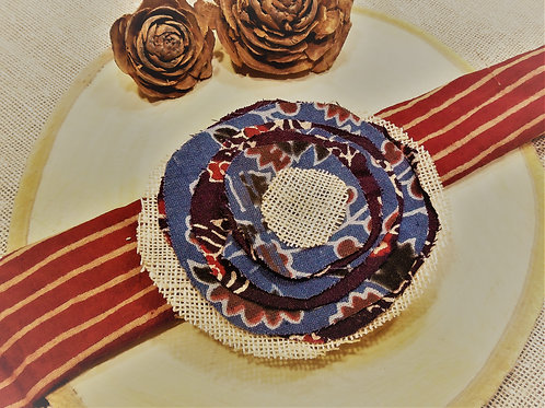 Blue Jute and Batik Fabric Brooch
